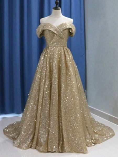 Ball Gown Sleeveless Off-the-Shoulder Sweep/Brush Train Ruffles Sequins Dresses