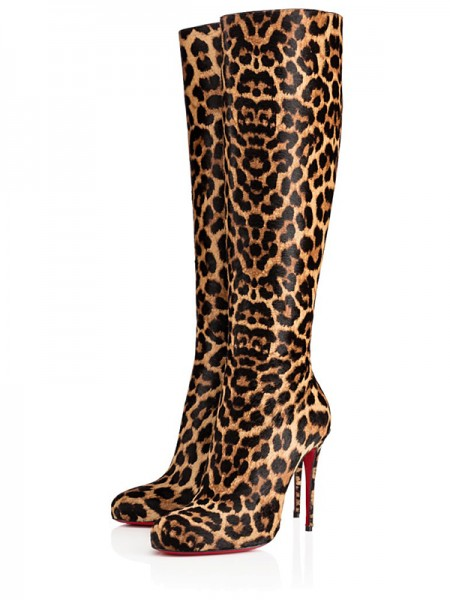 Damen Leopard Print Horsehair Stiletto Heel Knee High Heels